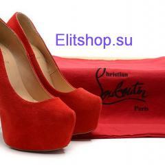 Туфли Christian Louboutin замша красного цвета