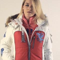 купить женскую лыжную куртку Bogner красного цвета