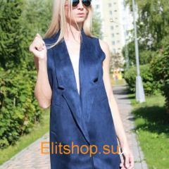 Женская жилетка синего цвета