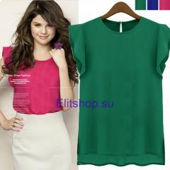 Блузка женская с воланом зеленого цвета