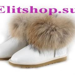 UGG Fox Fur Mini Metallic white