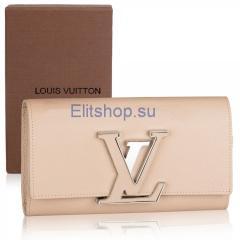 купить кошелек Louis Vuitton бежевого цвета интернет магазин
