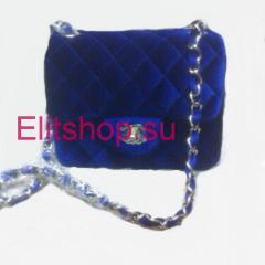 клатч Chanel синего цвета купить в москве недорого