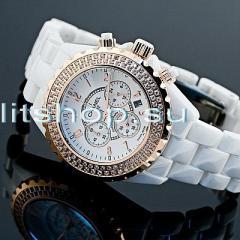 белые женские часы Chanel с хронографом внутри купить