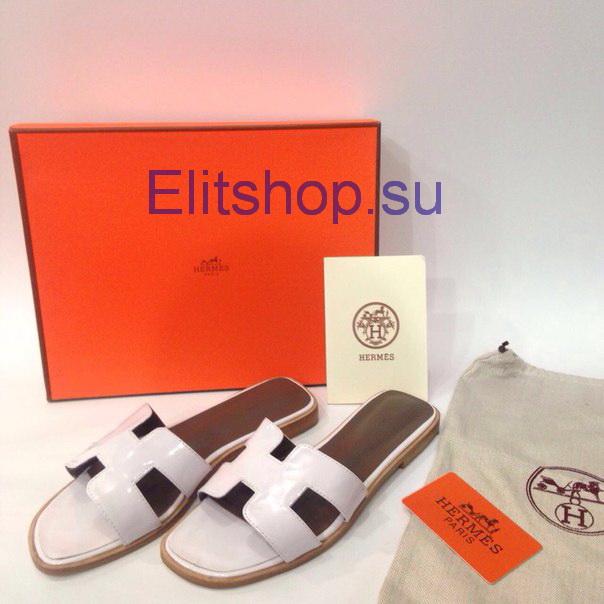 88124749e4d2 купить женскую обувь шлепки гермес белого цвета. Шлепки женские Hermes  кожаные